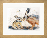 Leveret Love limited edition print by Lesley Palmer Framed Oak