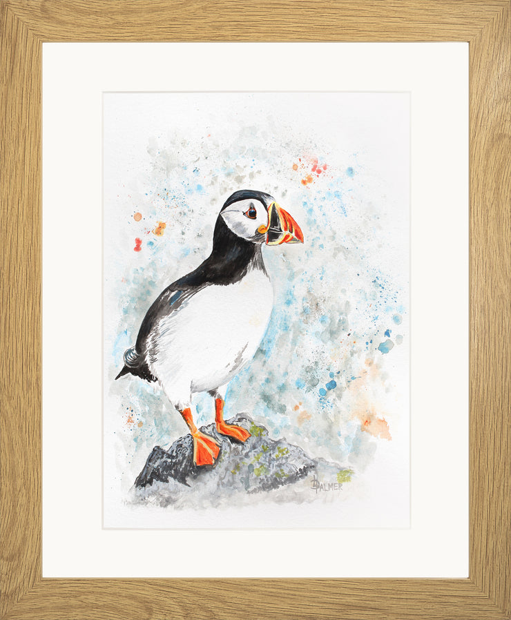 Perching Peter limited edition print by Lesley Palmer Framed Oak