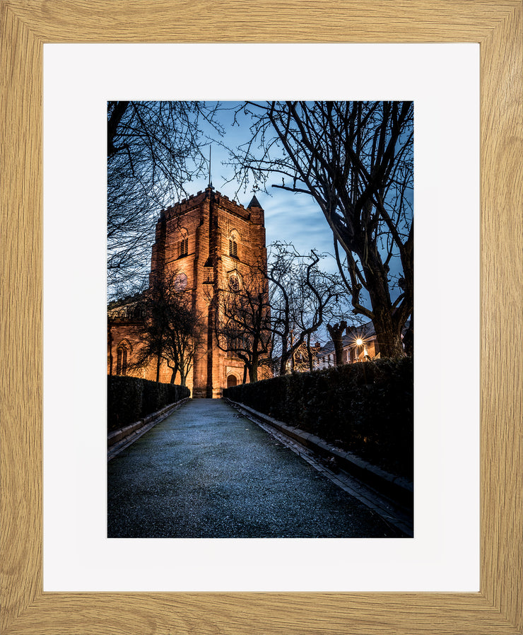 St Nicholas limited edition print by Neil Murray Oak Frame