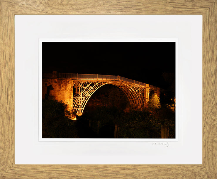 Ironbridge at Night Print by Lindsey Bucknor Oak Frame