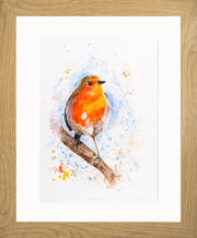 Rocky Robin Limited Edition Print by Lesley Palmer Framed Oak