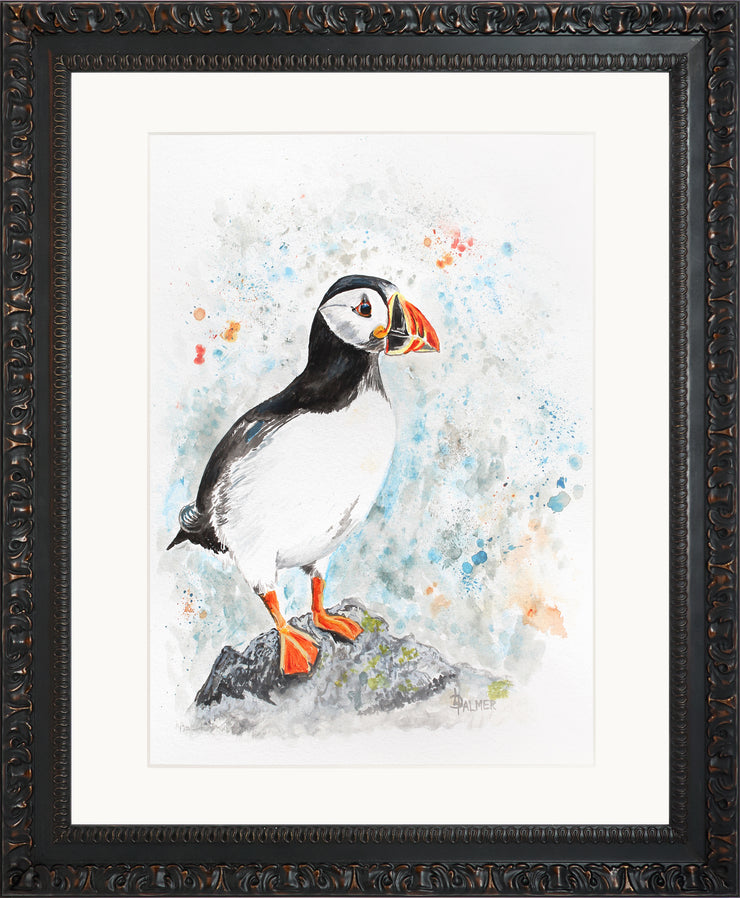 Perching Peter limited edition print by Lesley Palmer Framed Ornate Black