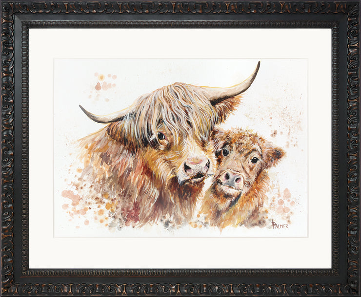 Isobel's Bairn Limited Edition Print by Lesley Palmer Ornate Black Frame