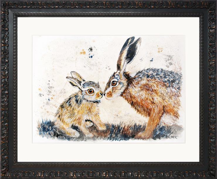 Leveret Love limited edition print by Lesley Palmer Framed Ornate Black