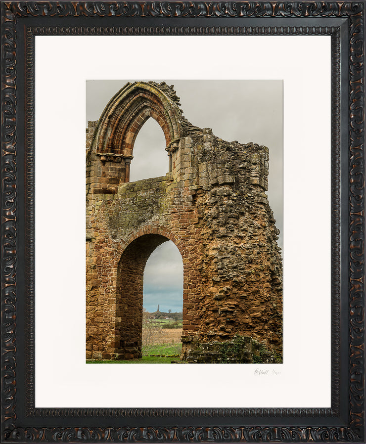 Lilleshall Abbey & Monument Limited Edition Print by Rob Hall Ornate Black Frame