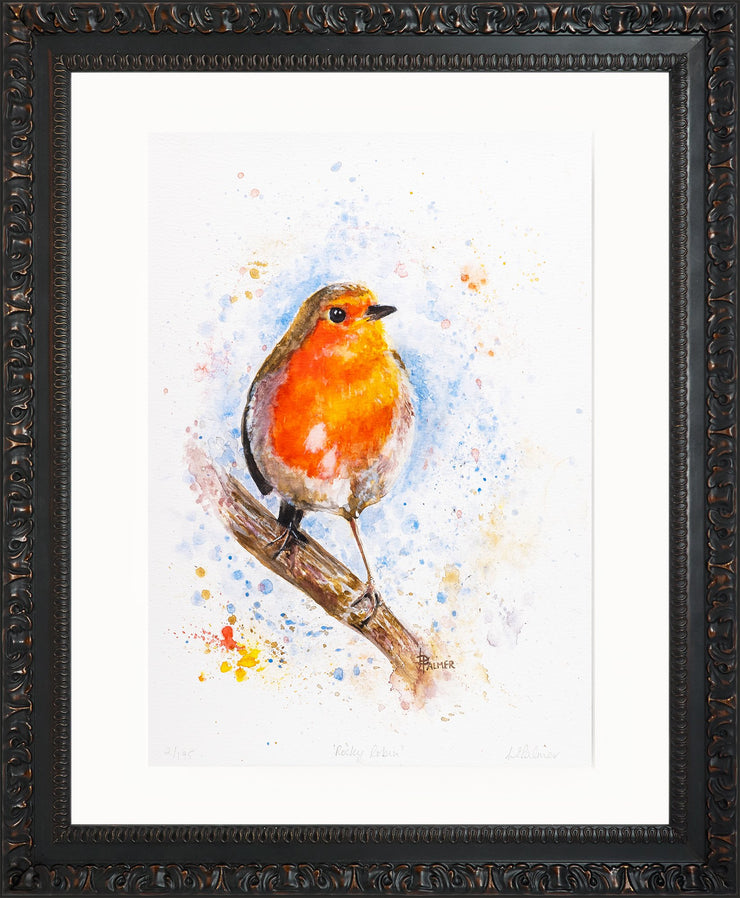 Rocky Robin Limited Edition Print by Lesley Palmer Framed Ornate Black