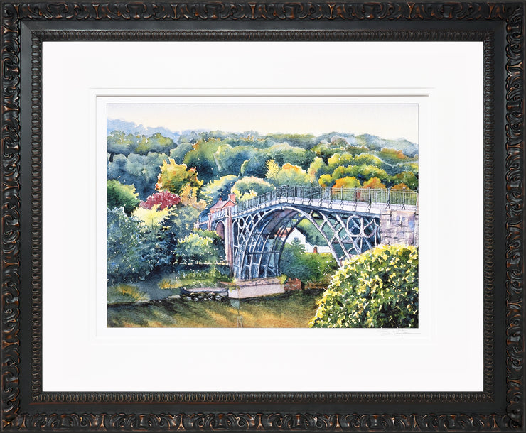 Ironbridge Shropshire Limited Edition Print by Sue Payton Ornate Black Frame
