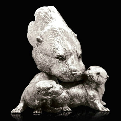 Otter and Pups nickel resin sculpture from Richard Cooper Studio