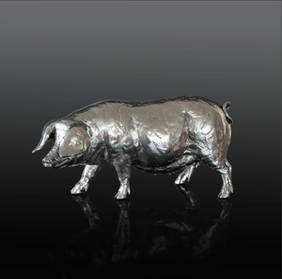 Pig nickel resin sculpture from Richard Cooper Studio