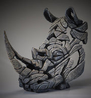 Rhinoceros Bust White by Edge Sculpture