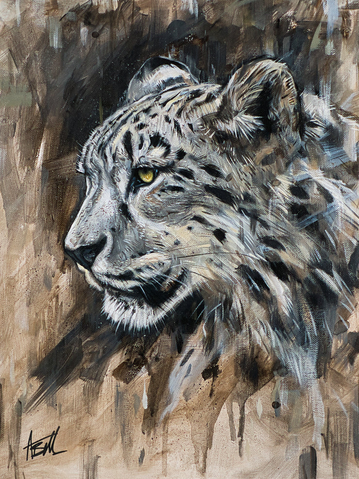 Snow Leopard Original Painting by Alex Bell