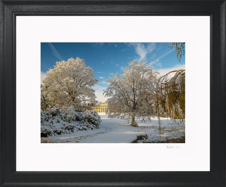 A Wintry Attingham Limited Edition Print by Rob Hall Black Frame