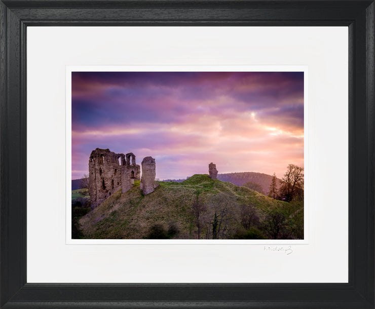 Clun Castle at Dawn Print by Lindsey Bucknor Black Frame