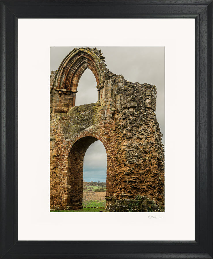 Lilleshall Abbey & Monument Limited Edition Print by Rob Hall Black Frame