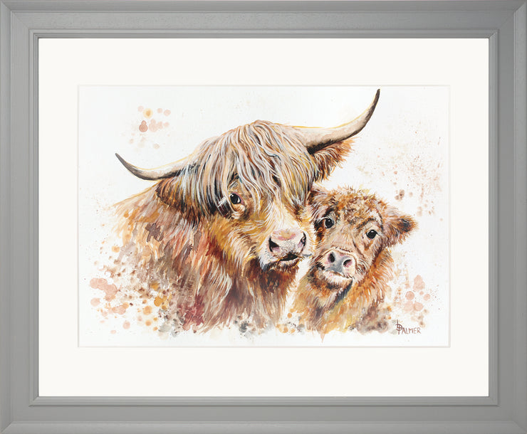 Isobel's Bairn Limited Edition Print by Lesley Palmer Grey Frame