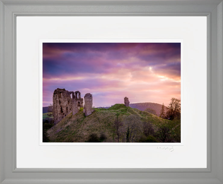 Clun Castle at Dawn Print by Lindsey Bucknor Grey Frame
