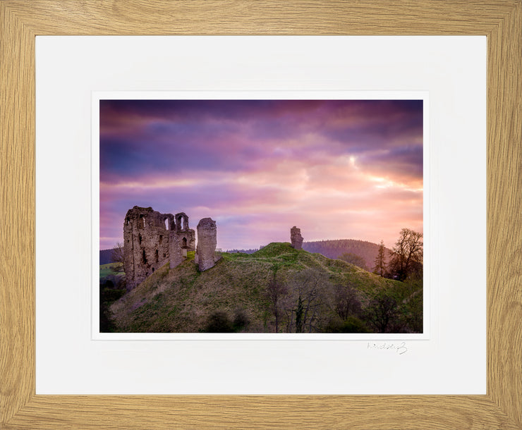 Clun Castle at Dawn Print by Lindsey Bucknor Oak Frame
