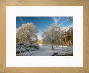 A Wintry Attingham Limited Edition Print by Rob Hall Oak Frame