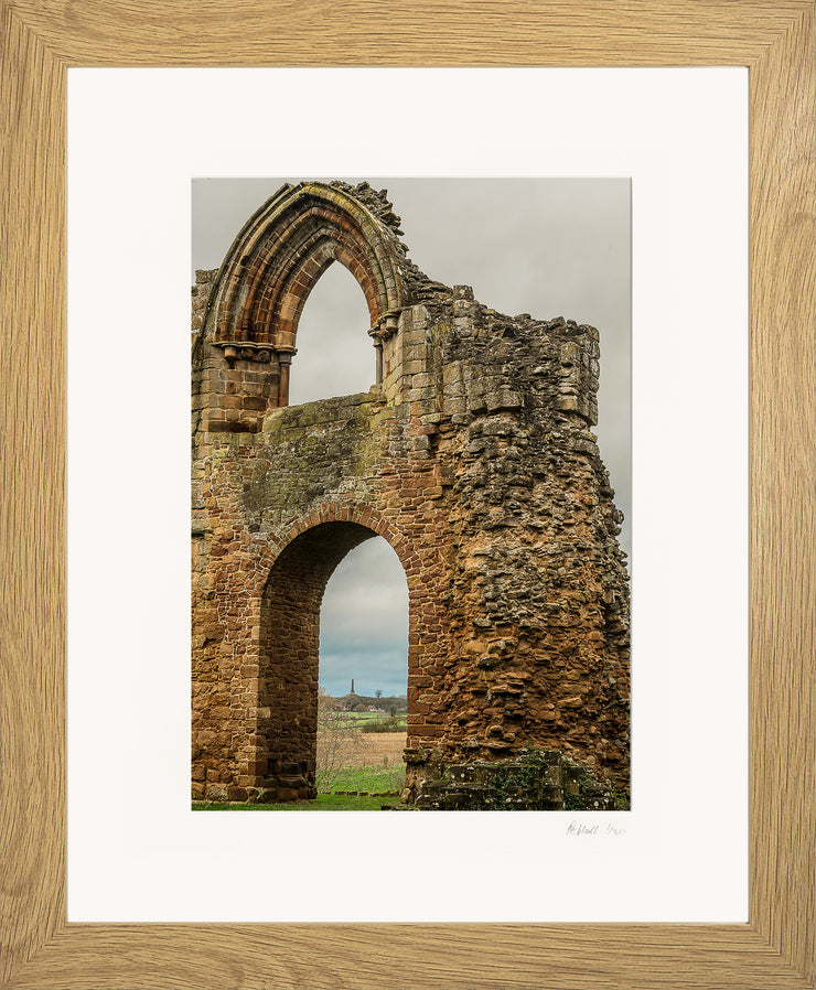 Lilleshall Abbey & Monument Limited Edition Print by Rob Hall Oak Frame