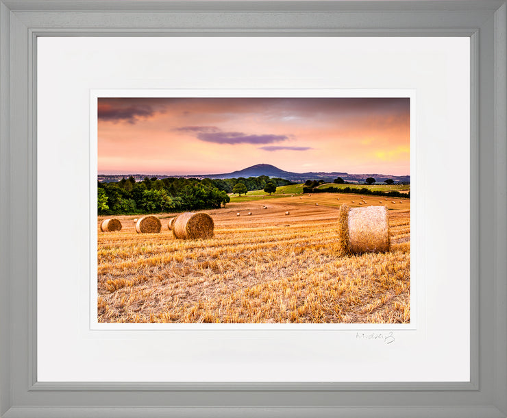 Wrekin Sunset Print by Lindsey Bucknor Grey Frame