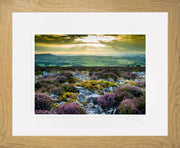 Stiperstones Sunset Print by Lindsey Bucknor Oak Frame