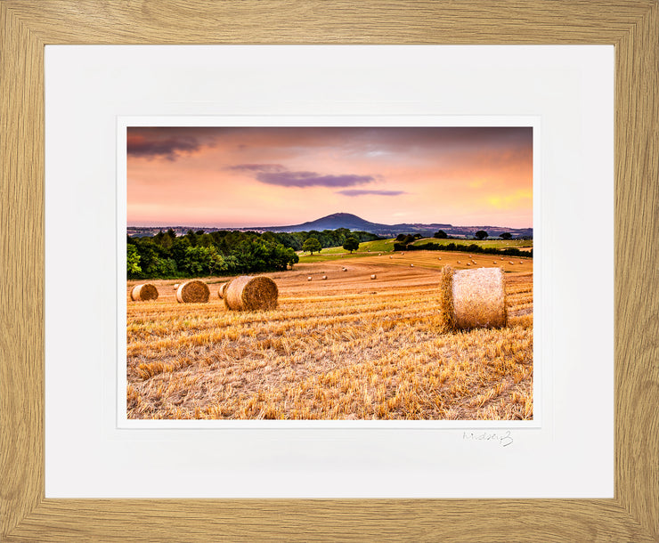 Wrekin Sunset Print by Lindsey Bucknor Oak Frame