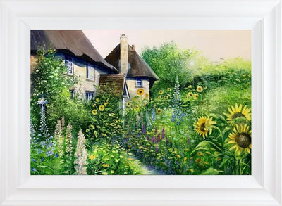 Sunflower Cottage limited edition print by Heather Howe