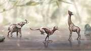 Trio African solid bronze miniature sculptures from Butler and Peach