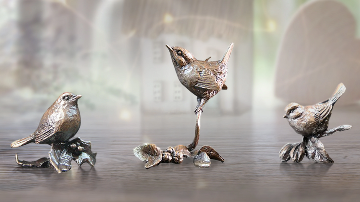 Trio Garden Birds solid bronze miniature sculptures from Butler and Peach