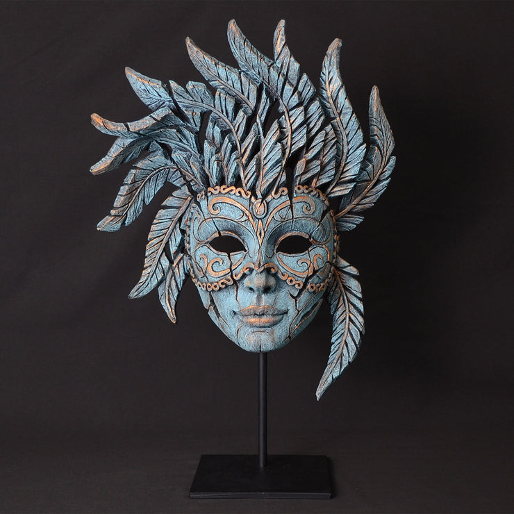 Venetian Carnival Mask in Teal by Edge Sculpture