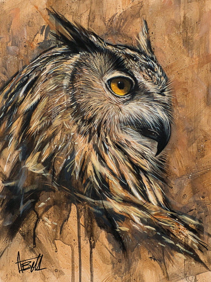 Wise Owl Original Painting by Alex Bell