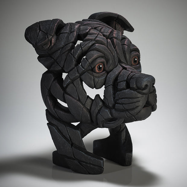 Staffordshire Bull Terrier Bust Black from Edge Sculpture
