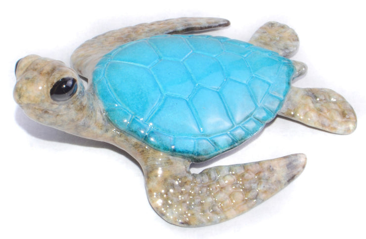 Keiki Bronze Blue Sea Turtle Sculpture by Chris Barela