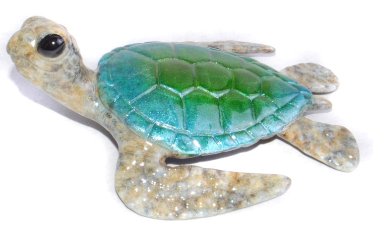 Keiki Bronze Green Blue Sea Turtle Sculpture by Chris Barela