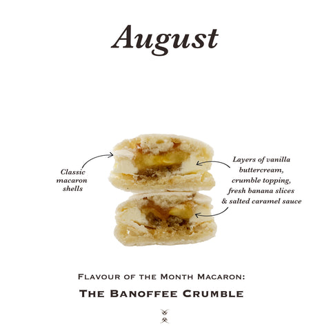 The August 2020 Flavour of the Month Macaron: The Banoffee Crumble