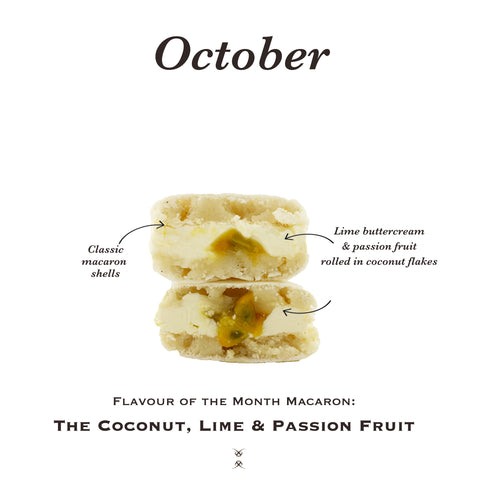 The October 2020 Flavor of the Month Macaron: The Coconut, Passion Fruit & Lime