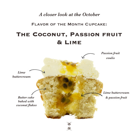 The October 2020 Flavor of the Month Cupcake: The Coconut, Passion Fruit & Lime