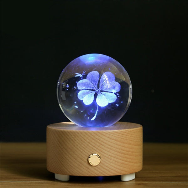 Four Leaf Clover Crystal Ball Bluetooth Music Box