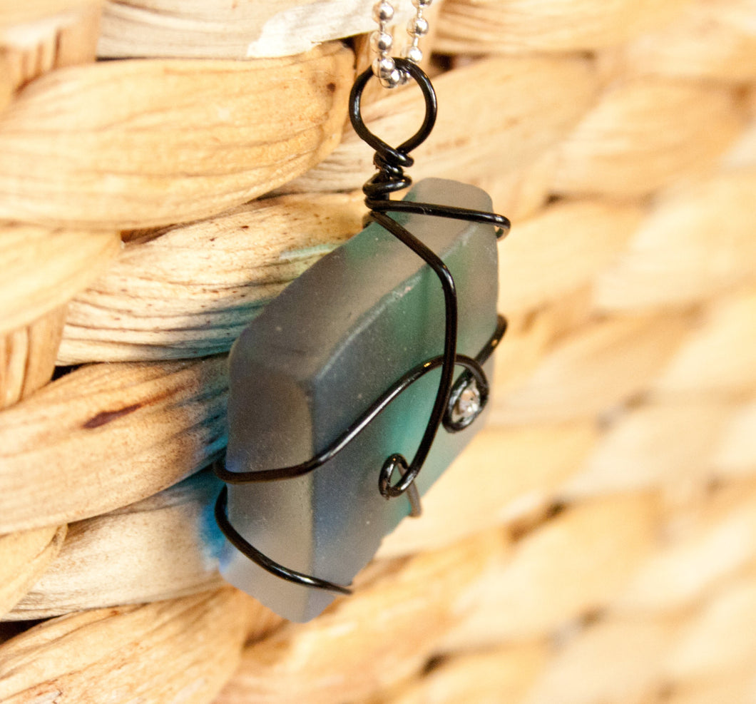wire wrapped recycled glass pendant. Blue Wire Wrapped Recycled Glass Pendant With A Swarovski Crystal, Seaglass, Gifts Under 20 E