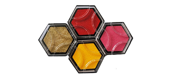 Shachihata Hexagon Beehive Design Stamp Pad - Limited Edition - 12 Color Set