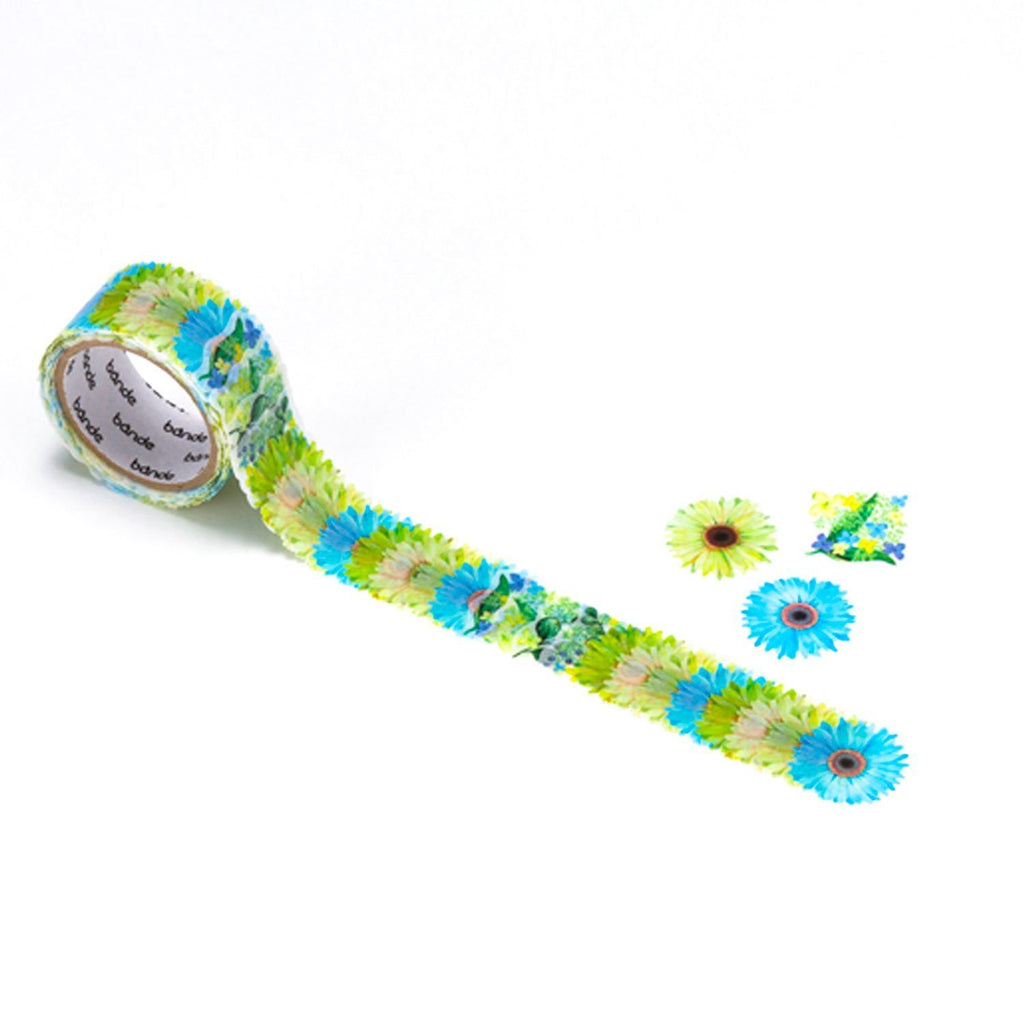 Bande DIY Masking Tape Flowers Stickers - Gerbera Mini Bouquet Green