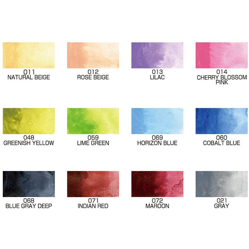 Kuretake Gansai Tambi Watercolor Palette - 12 New Colour Set