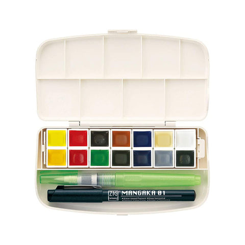 Kuretake Gansai Tambi Watercolor Palette - Portable 14 Colour Set