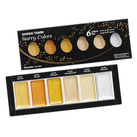 Kuretake Gansai Tambi Watercolor Palette - Starry Colors - 6 Color Set - Watercolors - bunbougu.com.au