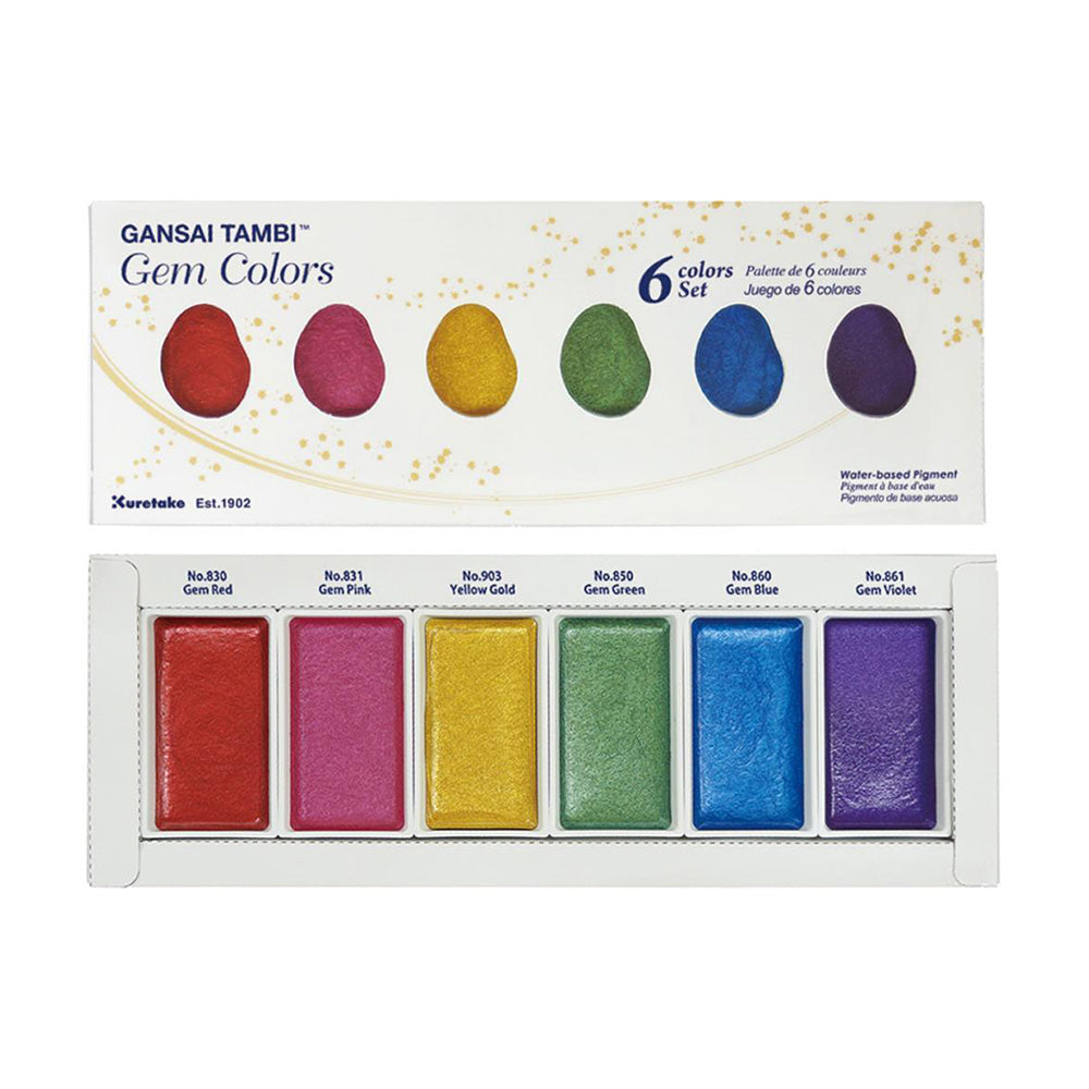 Kuretake Gansai Tambi Watercolor Palette - Gem Colors - 6 Color Set