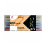 Kuretake Zig Writer Metallic Double-Sided Marker Pen - 1.0 mm / 1.2 mm - 6 Color Set - Markers - bunbougu.com.au