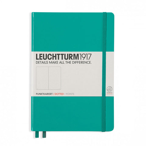 Leuchtturm1917 Medium Hardcover Notebook - Dotted - Emerald - A5 - Notebook - bunbougu.com.au