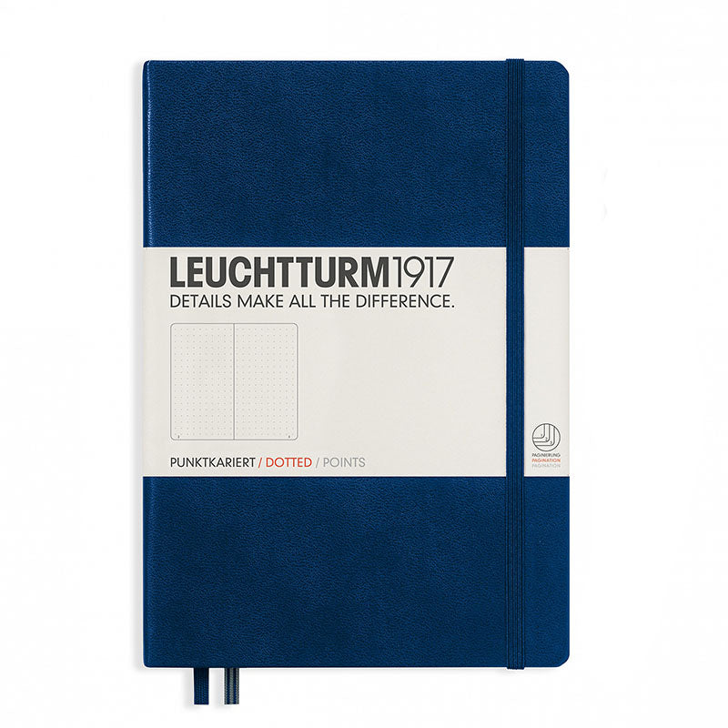 Leuchtturm1917 Medium Hardcover Notebook - Dotted - Navy - A5 - Notebook - bunbougu.com.au