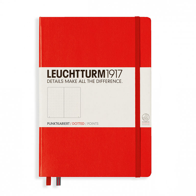 Leuchtturm1917 Medium Hardcover Notebook - Dotted - Red - A5 - Notebook - bunbougu.com.au