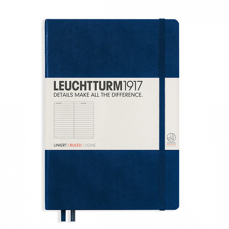 Leuchtturm1917 Medium Hardcover Notebook - Ruled - Navy - A5 - Notebook - bunbougu.com.au